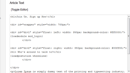 Шаг 5. Использование {loadposition} и {loadmodule} в Joomla
