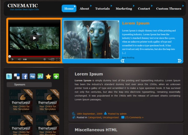 cinematic free wordpress video theme