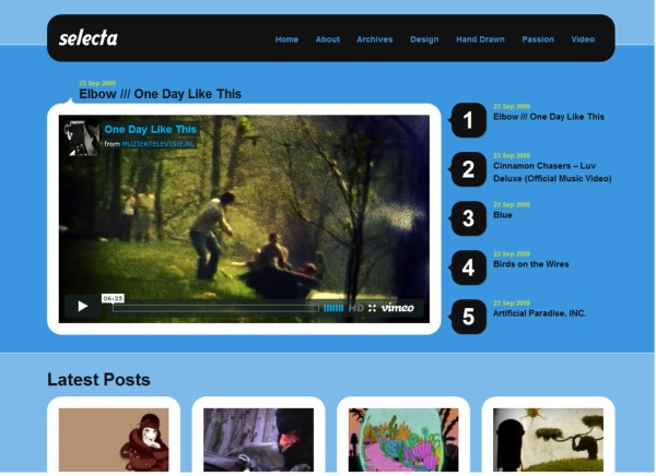 selecta free wordpress video theme