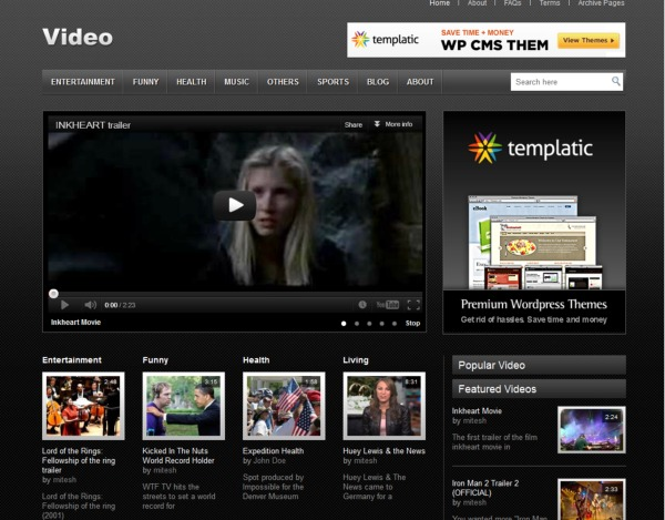 video templatic free wordpress video theme