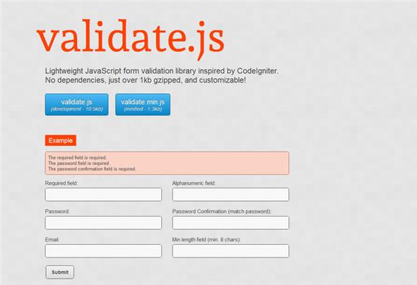 validate js - легкая JavaScript-библиотека для валидации форм